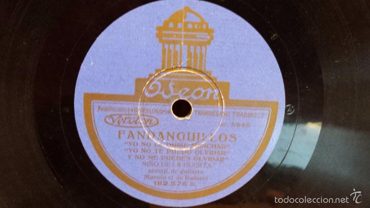 PIZARRA !! NIÑO DE LA HUERTA. FANDANGUILLOS / MILONGA - ODEON - 25 CM / MBC.*** (Música - Discos - Pizarra - Flamenco, Canción española y Cuplé)