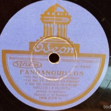 Discos de pizarra: PIZARRA !! NIÑO DE LA HUERTA. FANDANGUILLOS / MILONGA - ODEON - 25 CM / MBC.***. Lote 58159574