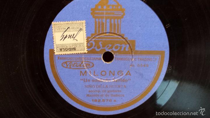 Discos de pizarra: PIZARRA !! NIÑO DE LA HUERTA. FANDANGUILLOS / MILONGA - ODEON - 25 CM / MBC.*** - Foto 2 - 58159574