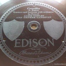 Discos de pizarra: DISCO PIZARRA EDISON - CRUCIFIX - GLORIA, ESTA GRABADO EN LA PIZARRA, 25 CM. Lote 58242579