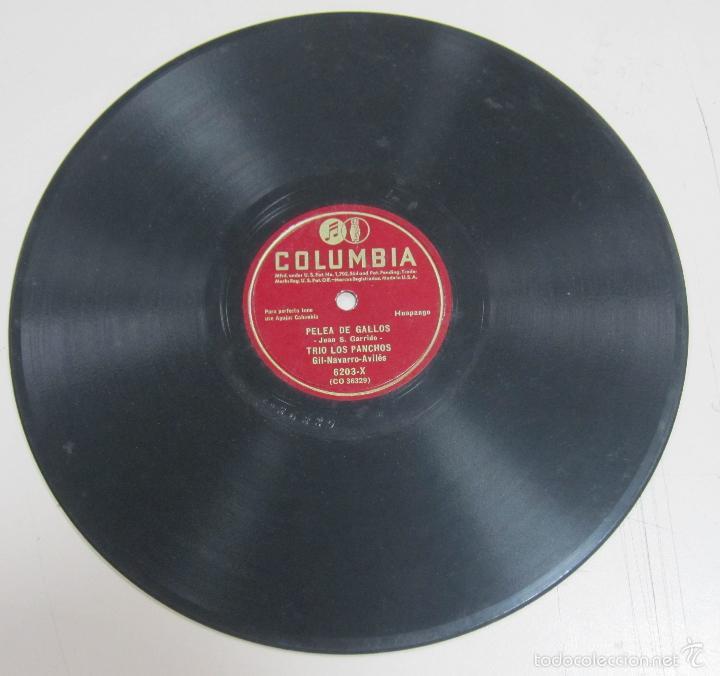 DISCO DE GRAMOFONO. COLUMBIA. PELEA DE GALLOS, TRIO LOS PANCHOS. 6203 - X. (Música - Discos - Pizarra - Otros estilos)