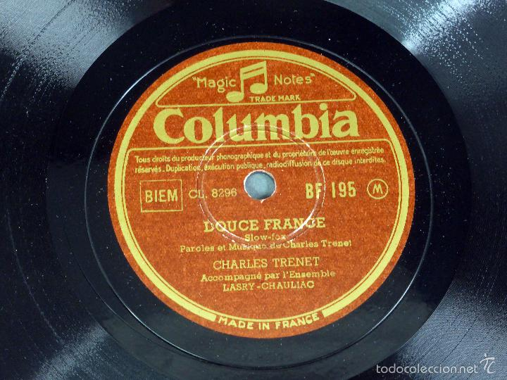 Discos de pizarra: Charles Trenet Douce France N y pensez pas trop disco pizarra Columbia - Foto 2 - 58279664