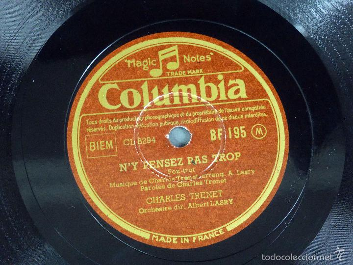 Discos de pizarra: Charles Trenet Douce France N y pensez pas trop disco pizarra Columbia - Foto 3 - 58279664