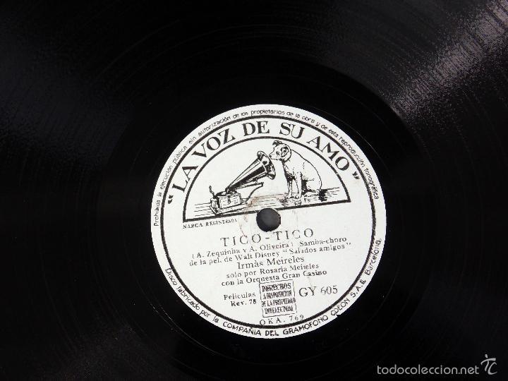 Discos de pizarra: Película Saludos Amigos Walt Disney Irmás Meireles Adios Tico tico disco pizarra La Voz de su Amo - Foto 2 - 58324509