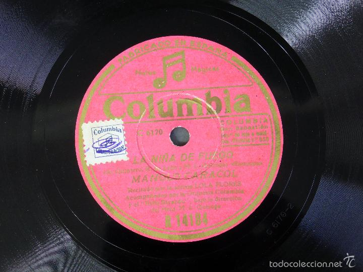 Discos de pizarra: Manolo Caracol La Niña de Fuego La Rosa Nueva disco pizarra Columbia - Foto 2 - 58325620