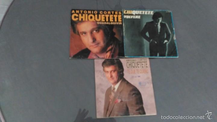 LOTE DE 3 SINGLES DE CHIQUETETE (Música - Discos - Pizarra - Flamenco, Canción española y Cuplé)