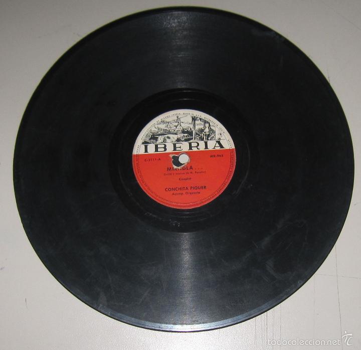 DISCO DE GRAMOFONO. IBERIA. CONCHITA PIQUER - MIRADLA /LA GITANILLA (Música - Discos - Pizarra - Flamenco, Canción española y Cuplé)
