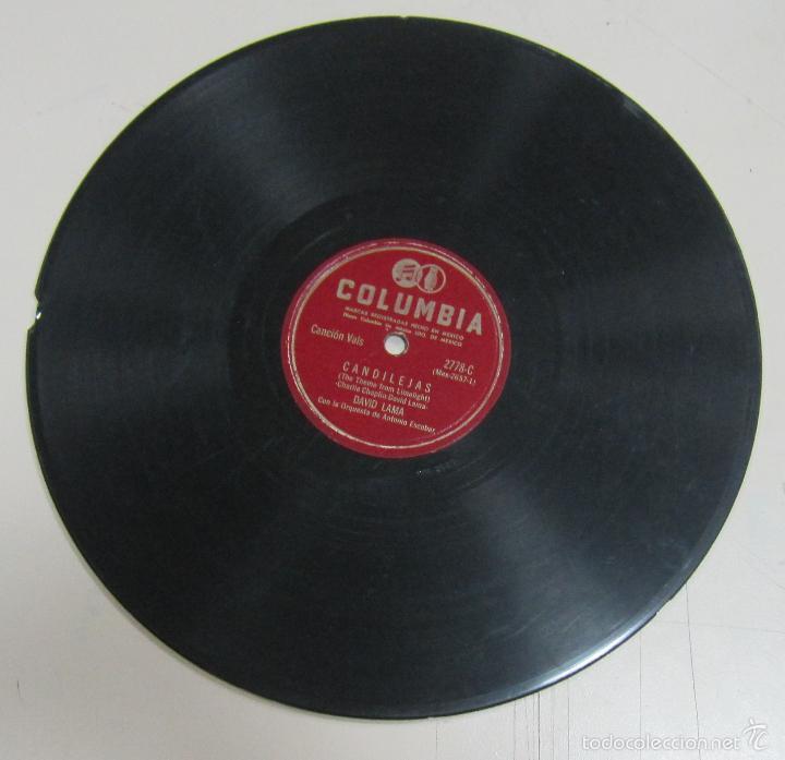 DISCO DE GRAMOFONO. COLUMBIA. DAVID LAMA - CANDILEJAS / CANCION DEL MOLINO ROJO (Música - Discos - Pizarra - Flamenco, Canción española y Cuplé)