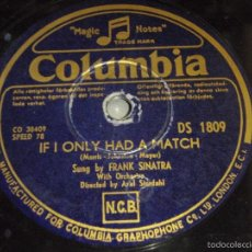 Discos de pizarra: FRANK SINATRA ( IF I ONLY HAD A MATCH - WE JUST COULD'NT SAY GOODBY ) COLUMBIA. Lote 181892743
