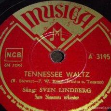 Discos de pizarra: SVEN LINDBERG ( TENNESSEE WALTZ - FLICKAN I REGNET ) TELEFUNKEN. Lote 58569284