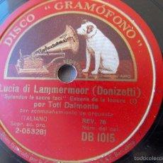 Discos de pizarra: DISCO PIZARRA PARA GRAMÓFONO DONIZETTI POR TOTI DALMONTE - GRAMOPHONE DISCO. Lote 58638732