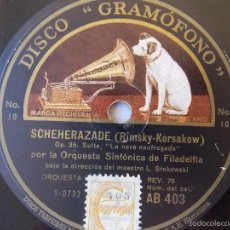 Discos de pizarra: DISCO PIZARRA PARA GRAMÓFONO ORQUESTA SINFONIA FILADELFIA - GRAMOPHONE DISCO. Lote 58638786