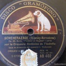 Discos de pizarra: DISCO PIZARRA PARA GRAMÓFONO ORQUESTA SINFONIA FILADELFIA - GRAMOPHONE DISCO. Lote 58638855
