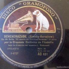 Discos de pizarra: DISCO PIZARRA PARA GRAMÓFONO ORQUESTA SINFONIA FILADELFIA - GRAMOPHONE DISCO. Lote 58638869