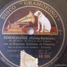 Discos de pizarra: DISCO PIZARRA PARA GRAMÓFONO ORQUESTA SINFONIA FILADELFIA - GRAMOPHONE DISCO. Lote 58638886