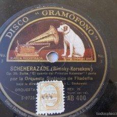 Discos de pizarra: DISCO PIZARRA PARA GRAMÓFONO ORQUESTA SINFONIA FILADELFIA - GRAMOPHONE DISCO. Lote 58638904