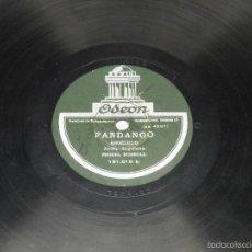 DISCO DE PIZARRA, ANGELILLO, ODEON, MALAGUEÑA Y FANDANGO, ACOMPAÑAMIENTO GUITARRA MIGUEL BORRULL