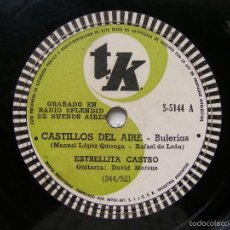 Discos de pizarra: ESTRELLITA CASTRO TK 5141 ARGENTINA 78RPM CASTILLOS DEL AIRE / LAS SALINERAS. Lote 194887242