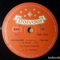 Discos de pizarra: RICARDO SANTOS Y SU ORQUESTA - MUCHACHO/ TANGO AMERICANO - POLYDOR - DISCO PIZARRA. Lote 61430511