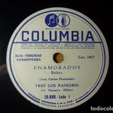 Discos de pizarra: TRIO LOS PANCHOS - ENAMORADOS/EL VAGABUNDO - COLUMBIA -DISCO PIZARRA. Lote 61431783