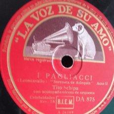 Discos de pizarra: PAGLIACCI (LEONCAVALLO) * DISCO DE PIZARRA PARA GRAMOFONO. Lote 61795636