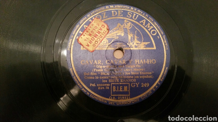 WALT DISNEY. DISCO DE PIZARRA PARA GRAMÓFONO (B. NIEVES Y LOS 7 ENANOS). CANCIONES ORIGINALES. (Música - Discos - Pizarra - Bandas Sonoras y Actores )