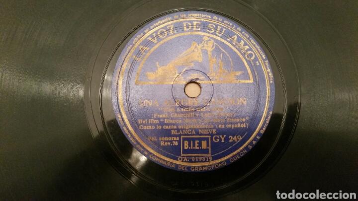 Discos de pizarra: WALT DISNEY. Disco de pizarra para Gramófono (B. Nieves y los 7 enanos). CANCIONES ORIGINALES. - Foto 3 - 62467876