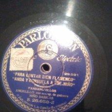 Discos de pizarra: DISCO DE PIZARRA DE ANGELILLO FANDANGOS POR Y GUAJIRA. Lote 62706424