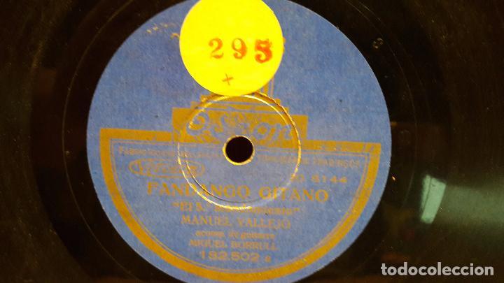 PIZARRA !! MANUEL VALLEJO. FANDANGO GITANO / FANDANGO NUEVO / SELLO ODEON - 25 CM / BC. (Música - Discos - Pizarra - Flamenco, Canción española y Cuplé)