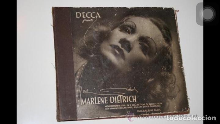 ALBUM DE 3 DISCOS DE PIZARRA DE 78 RPM GRAMÓFONO DE MARLENE DIETRICH (Música - Discos - Pizarra - Bandas Sonoras y Actores )