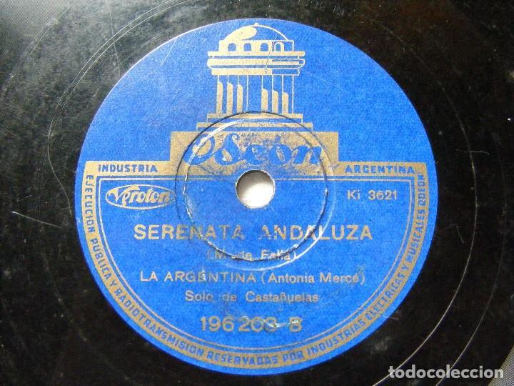 Discos de pizarra: LA ARGENTINA Odeon 196203 78rpm SEVILLA / SERENATA ANDALUZA EX - Foto 2 - 63671095