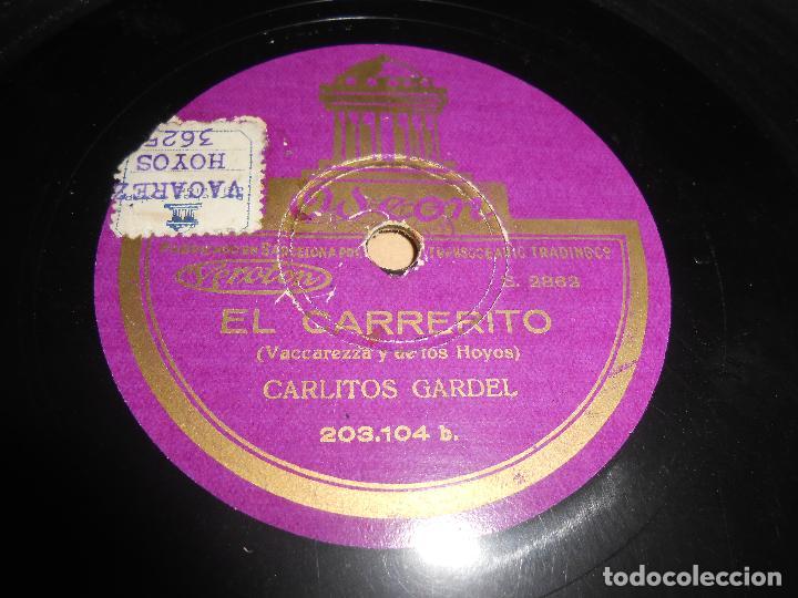 CARLITOS GARDEL EL CARRERITO/ESTA NOCHE ME EMBORRACHO 25 CTMS 10 PULGADAS ODEON 2862 ESPAÑA SPAIN (Música - Discos - Pizarra - Solistas Melódicos y Bailables)