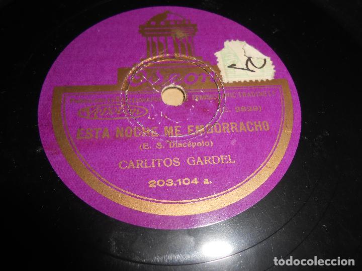 Discos de pizarra: CARLITOS GARDEL El carrerito/Esta noche me emborracho 25 ctms 10 pulgadas ODEON 2862 ESPAÑA SPAIN - Foto 2 - 64744759