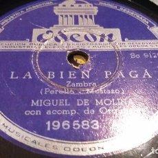 Discos de pizarra: DISCO DE PIZARRA MIGUEL DE MOLINA. Lote 65987906