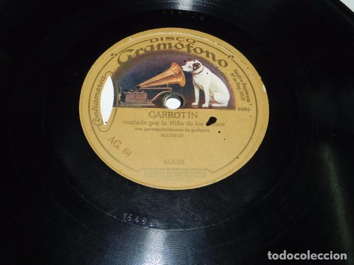 DISCO DE PIZARRA GRAMOFONO, NIÑA DE LOS PEINES, SEGUIDILLAS N.1 / GARROTIN, N. 653066-653024, TAL Y (Música - Discos - Pizarra - Flamenco, Canción española y Cuplé)