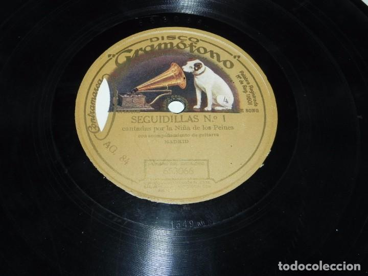 Discos de pizarra: DISCO DE PIZARRA GRAMOFONO, NIÑA DE LOS PEINES, SEGUIDILLAS N.1 / GARROTIN, N. 653066-653024, TAL Y - Foto 3 - 66210094