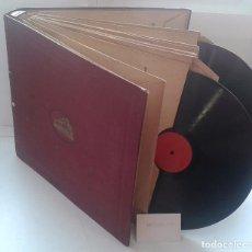 Discos de pizarra: LOTE 12 DISCOS PIZARRA 78RPM + ALBUM.LA VOZ DE SU AMO.GRAMOFONO. Lote 67670793