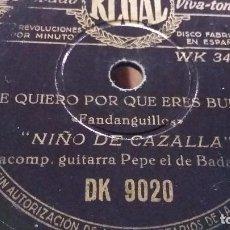 Discos de pizarra: NIÑO DE LA CAZALLA DISCO DE PIZARRA. Lote 67749973