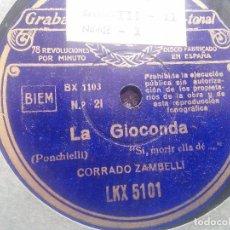 Discos de pizarra: LA GIOCONDA (PONCHIELLI) * 5 DISCOS DE GRAMÓFONO * VER FOTOS. Lote 68164277