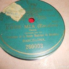 Discos de pizarra: PROFESORES BANDA MUNICIPAL BARCELONA ERES MIA (ESCALAS) DANZA 25 CTMS 10 PULGADAS 260003 UNA CARA. Lote 68677169