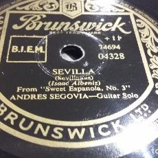 Discos de pizarra: SOLO DE GUITARRA ANDRÉS SEGOVIA DISCO DE PIZARRA. Lote 69058813