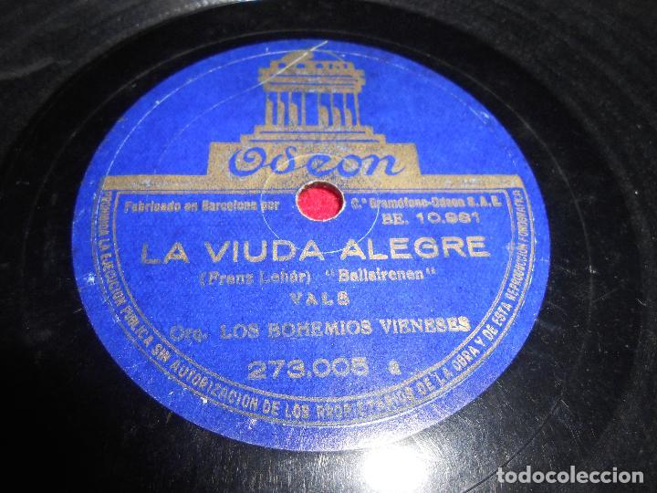 LOS BOHEMIOS VIENESES EL BARON GITANO/LA VIUDA ALEGRE 10 PULGADAS 25 CTMS ODEON 273.005 ESPAÑA SPAIN (Música - Discos - Pizarra - Otros estilos)