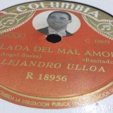 Discos de pizarra: ALEJANDRO ULLOA POESÍA DE JOSÉ ANGEL BUESA. Lote 69711393