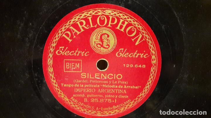 PIZARRA !! IMPERIO ARGENTINA. SILENCIO / EL MENTIR DE TUS OJOS / PARLOPHON - 25 CM. (Música - Discos - Pizarra - Flamenco, Canción española y Cuplé)