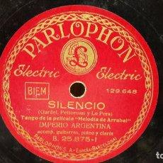 Discos de pizarra: PIZARRA !! IMPERIO ARGENTINA. SILENCIO / EL MENTIR DE TUS OJOS / PARLOPHON - 25 CM.. Lote 69727517