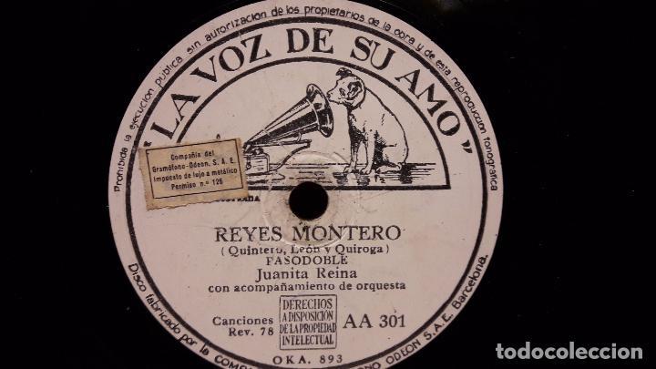 PIZARRA !! JUANITA REINA. REYES MONTERO / YO NO QUIERO COMER CONTIGO / LA VOZ DE SU AMO - 25 CM. (Música - Discos - Pizarra - Flamenco, Canción española y Cuplé)