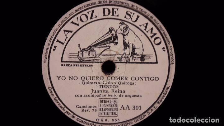 Discos de pizarra: PIZARRA !! JUANITA REINA. REYES MONTERO / YO NO QUIERO COMER CONTIGO / LA VOZ DE SU AMO - 25 CM. - Foto 2 - 69727601