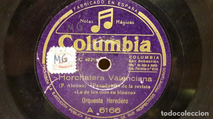 PIZARRA !! ORQUESTA HEREDERO. HORCHATERA VALENCIANA / LA COMPARSITA / COLUMBIA - 25 CM. (Música - Discos - Pizarra - Solistas Melódicos y Bailables)