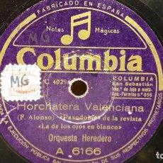Discos de pizarra: PIZARRA !! ORQUESTA HEREDERO. HORCHATERA VALENCIANA / LA COMPARSITA / COLUMBIA - 25 CM.. Lote 69748169