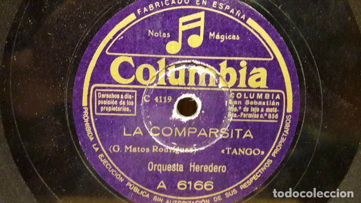 Discos de pizarra: PIZARRA !! ORQUESTA HEREDERO. HORCHATERA VALENCIANA / LA COMPARSITA / COLUMBIA - 25 CM. - Foto 2 - 69748169